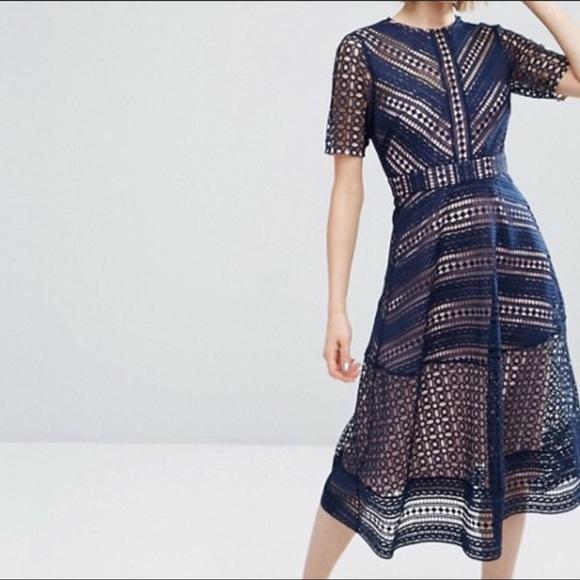 d0b6240aafaa ASOS Dresses | Premium Occasion Lace Midi Dress In Navy | Poshmark